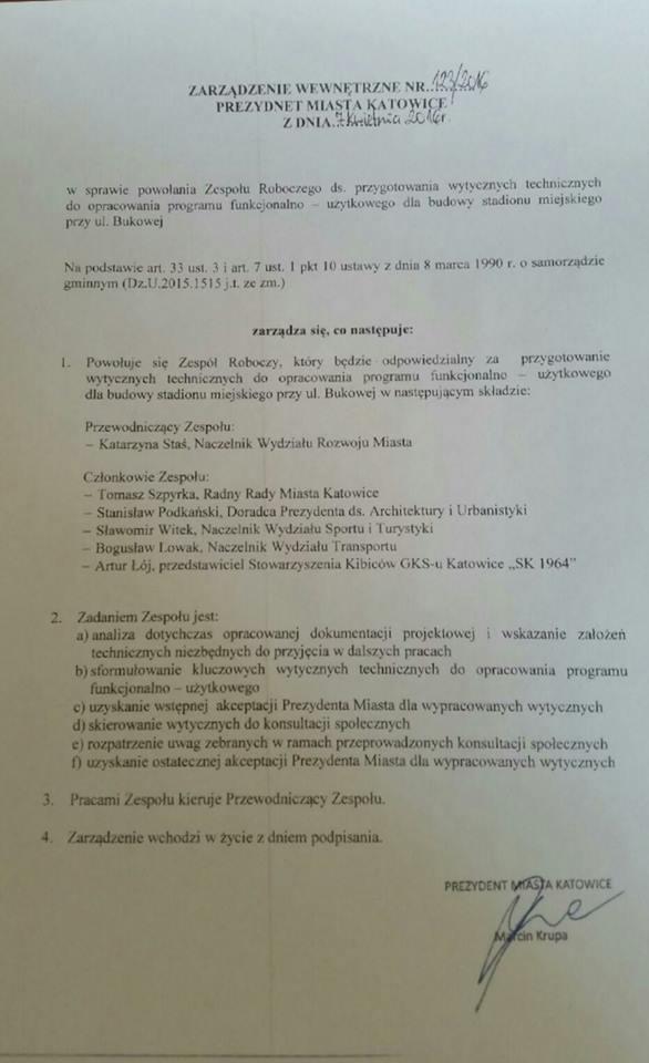 Dokument Stadion dla Katowic