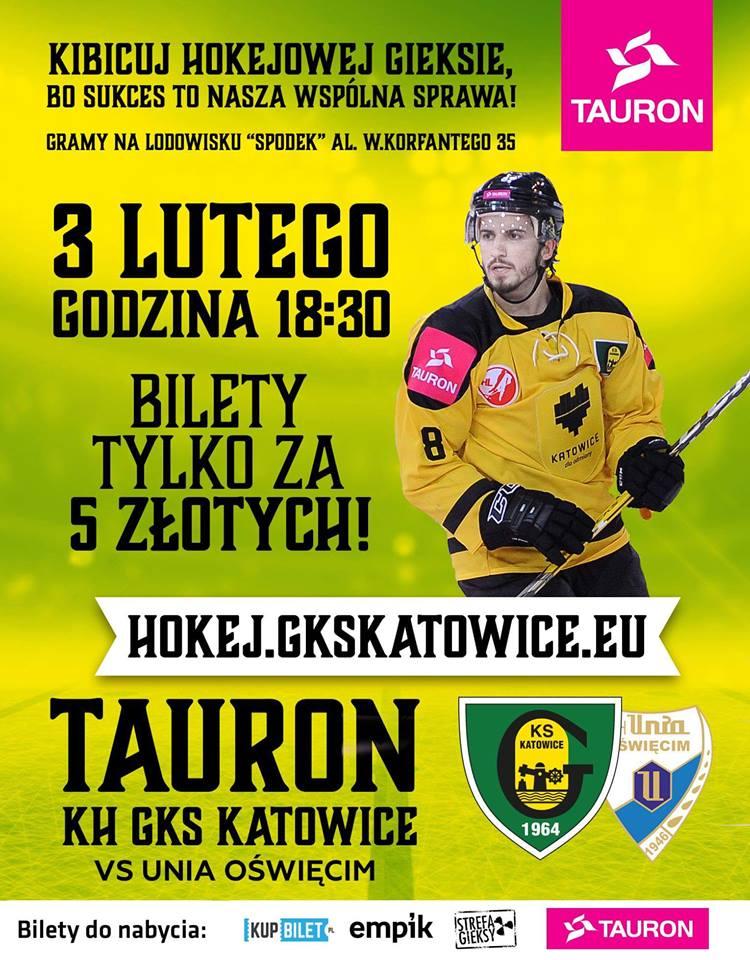 Plakat na mecz hokeja GKS Katowice - Unia Oświęcim