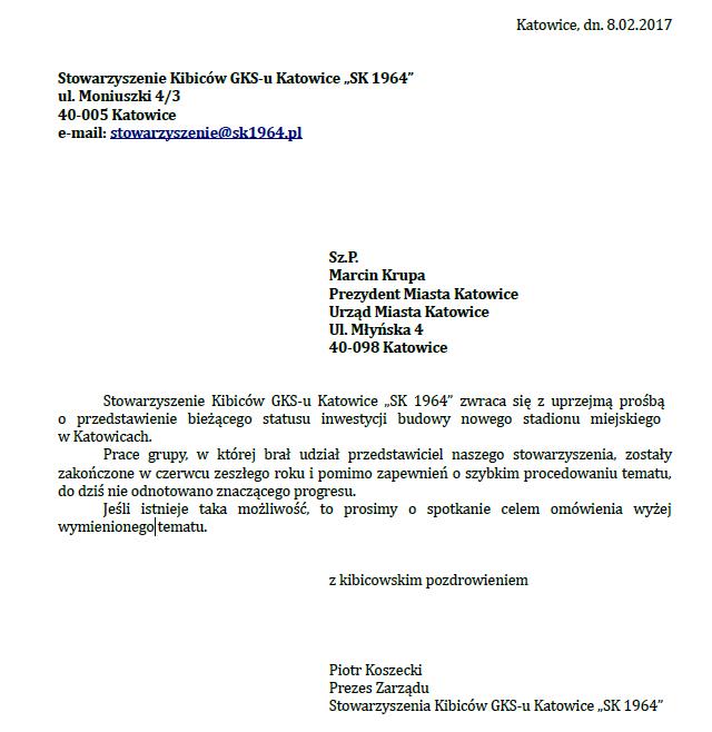 Pierwsze pismo SK 1964 o stadion do Prezydenta Miasta