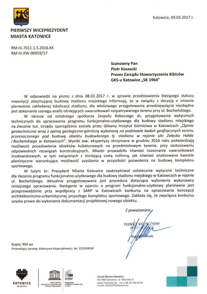 Odpowiedź Prezydenta Miasta Katowice na pismo SK 1964 o stadion